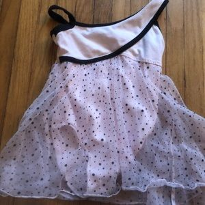 Light pink leotard with black polka dots size 0-2